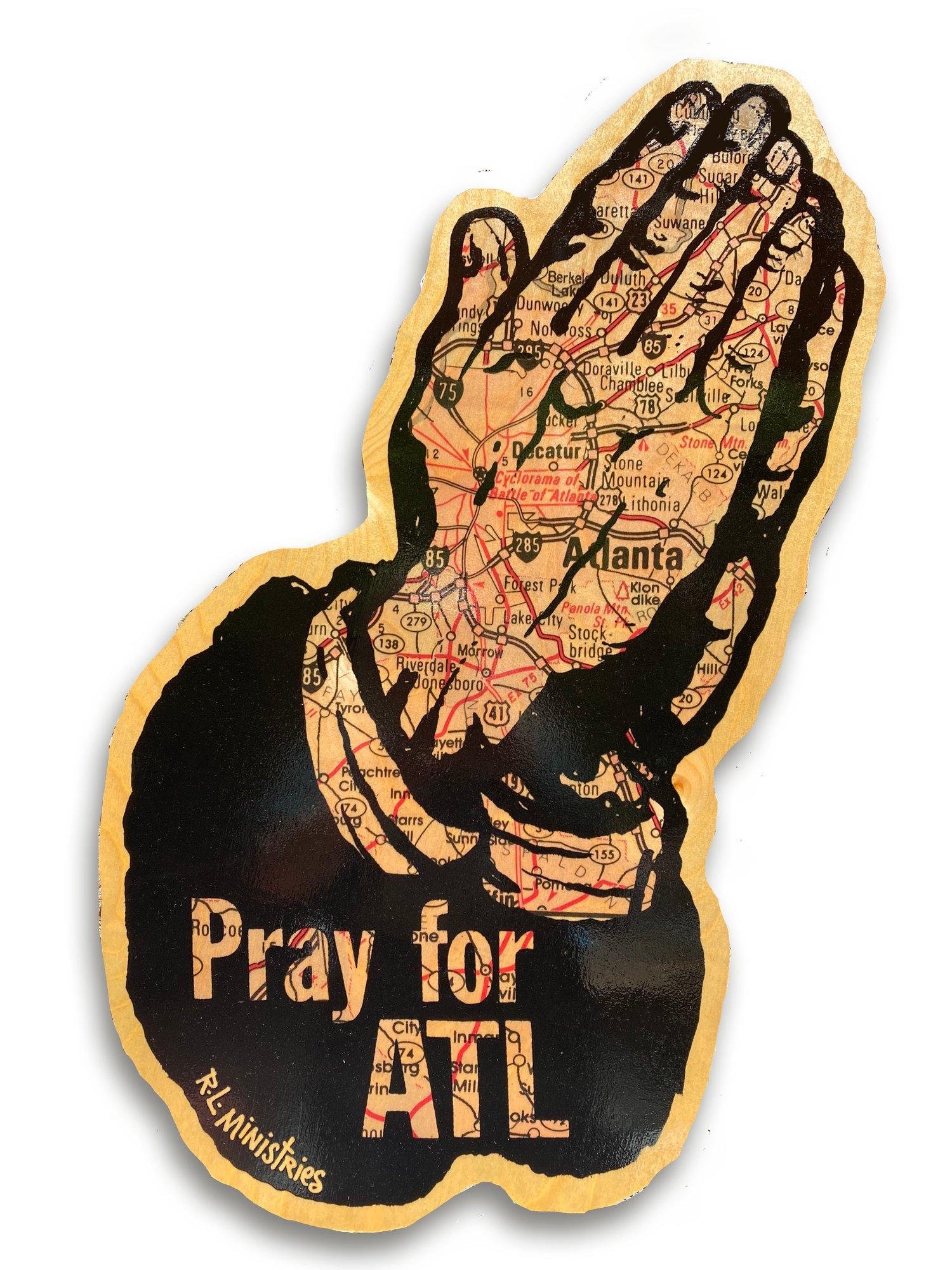 Image of Jumbo Pray For ATL Map on Wood