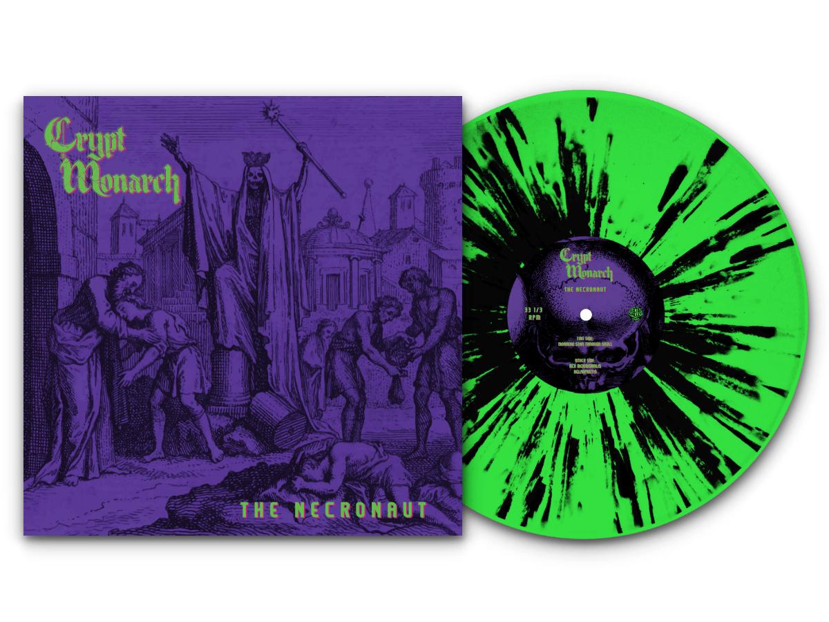 Image of CRYPT MONARCH - THE NECRONAUT LTD Neon Green Splatter Black Vinyl