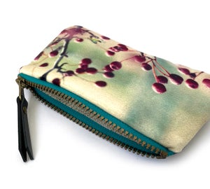 Image of Red berries, velvet zipper purse
