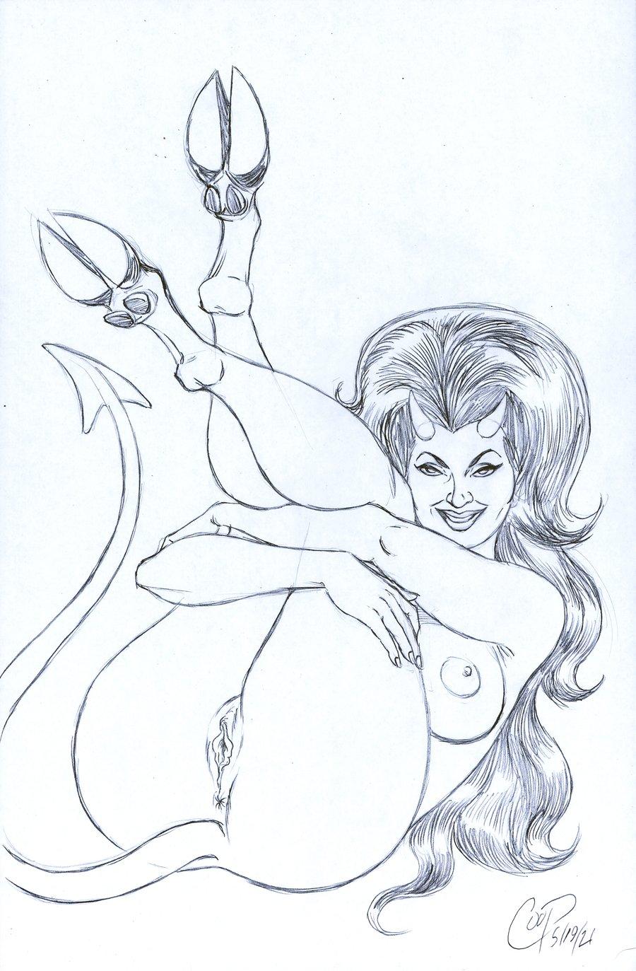 Image of HOOVES UP DEVIL GIRL Original Sketch