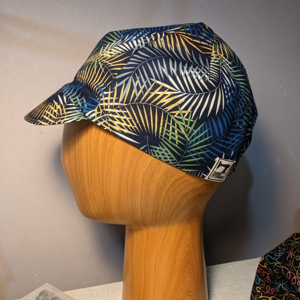 Image of Cotton cycling cap - navy with palm leaves