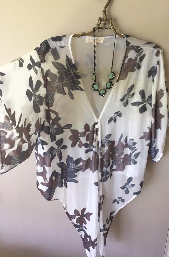 Image of SILK velvet floral tie top...oversized