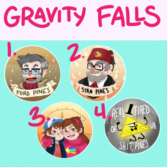 Gravity Falls Round Buttons