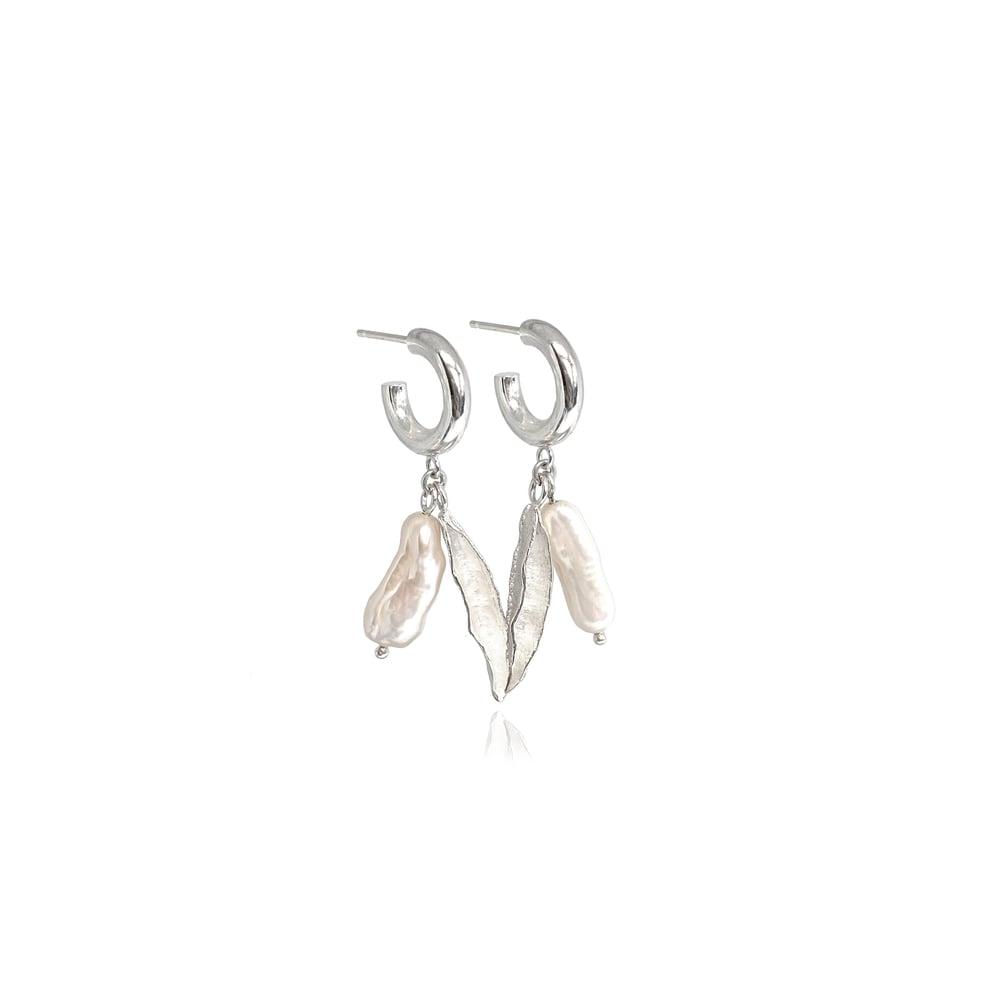 Image of Silver pearl & seedpod hoops