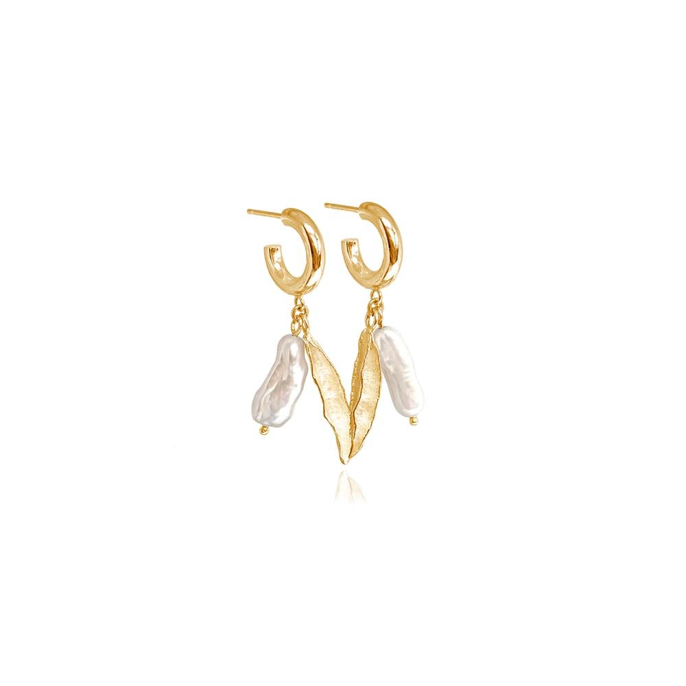 Image of Gold pearl & seedpod hoops