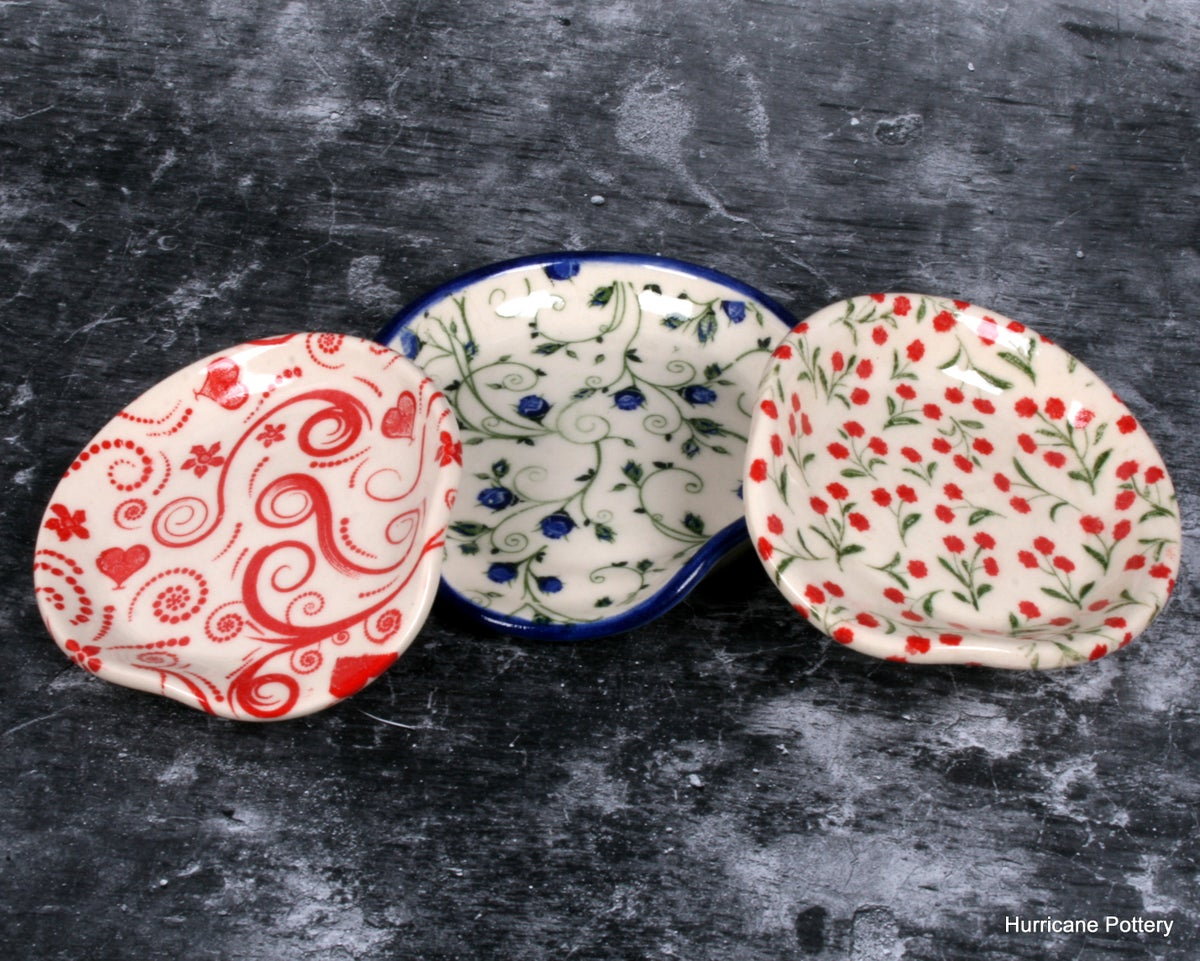 Image of Small spoon rest for coffee or tea. Tiny Red Floral, or Sweet Blue Floral on White