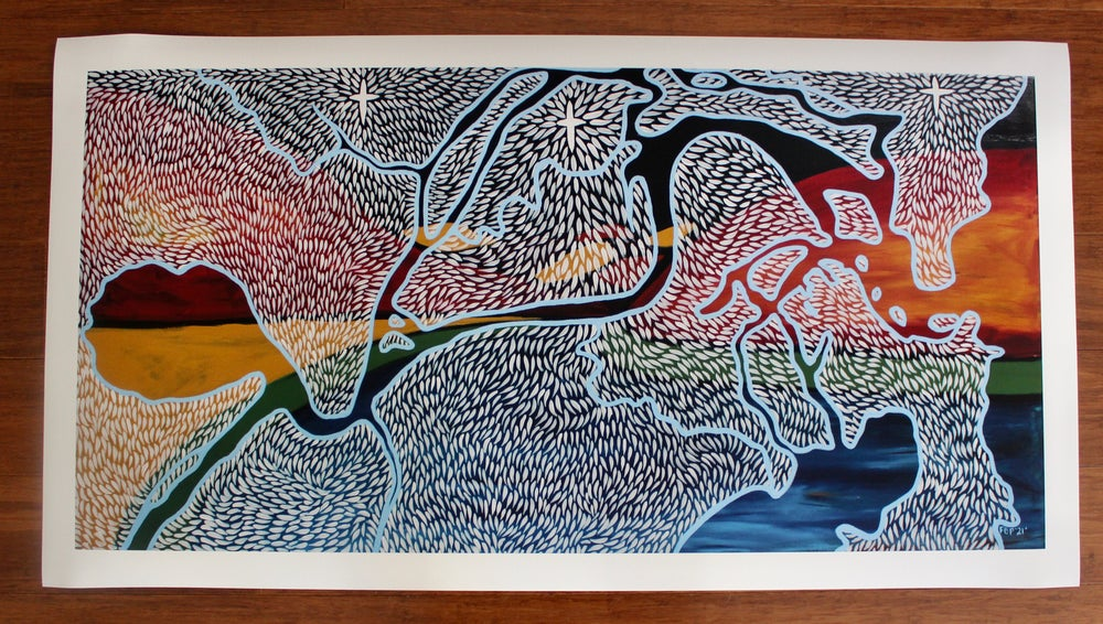 Image of 'Yarrawali Aagalgu' (River to Sea), Fine Art print, Limited edition. (Various Sizes)