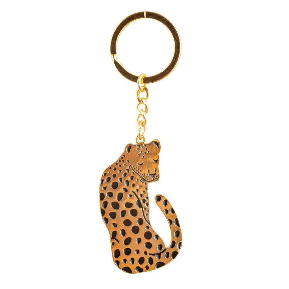 Image of Golden Leopard Enamel Keyring