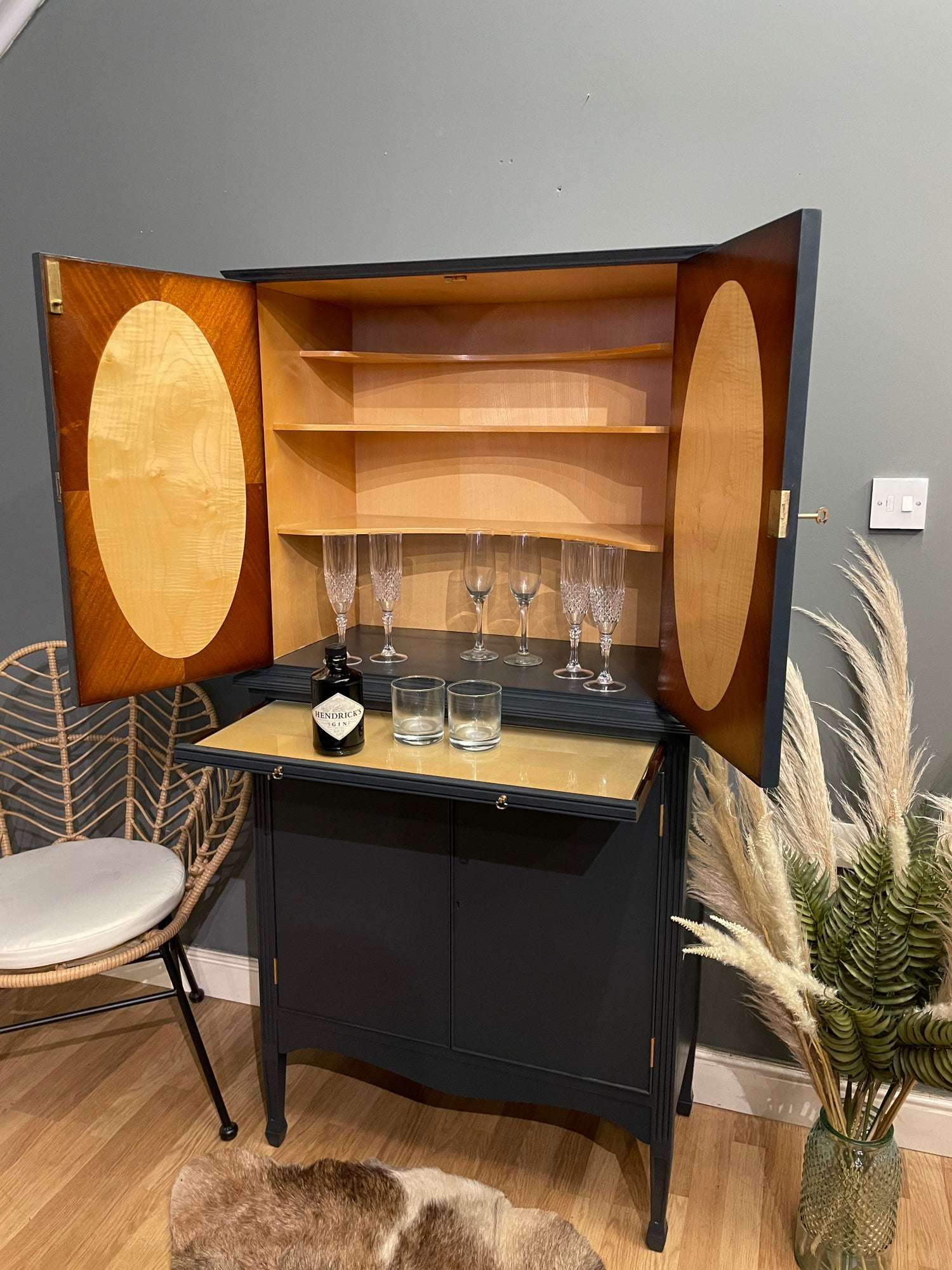 Image of Stunning flame mahogany drinks cabinet in F&B Railings