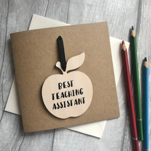 Image of Best Teaching Assistant Apple Decoration Card