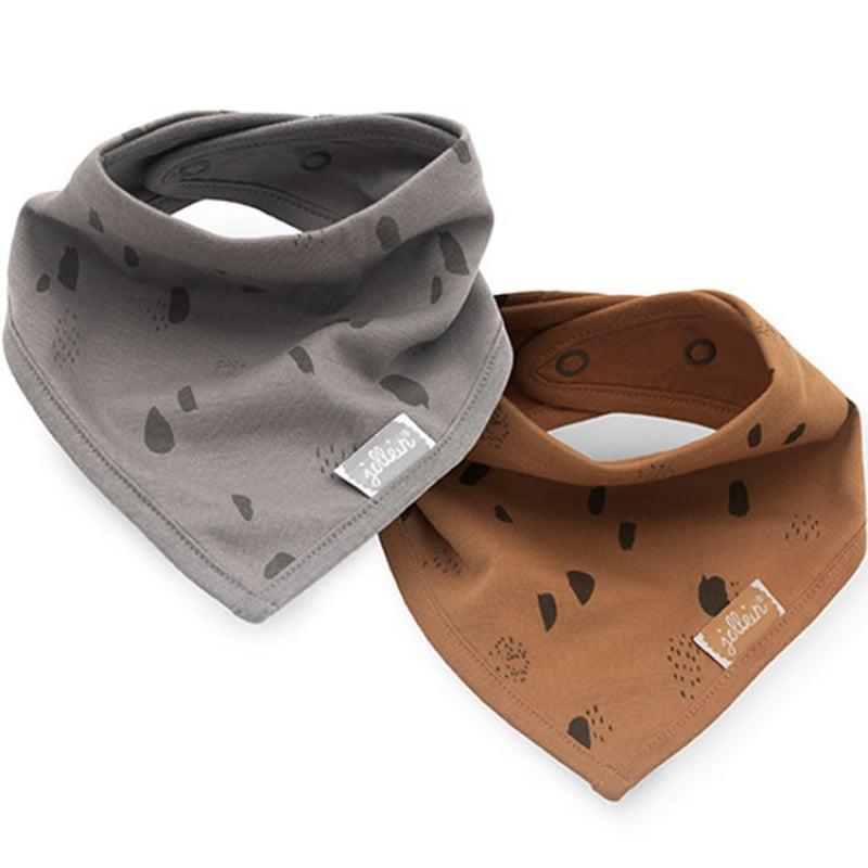 Image of Lot de 2 bavoirs bandana Spot caramel et storm grey