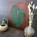 Hand Painted Woodcut Monstera Picture