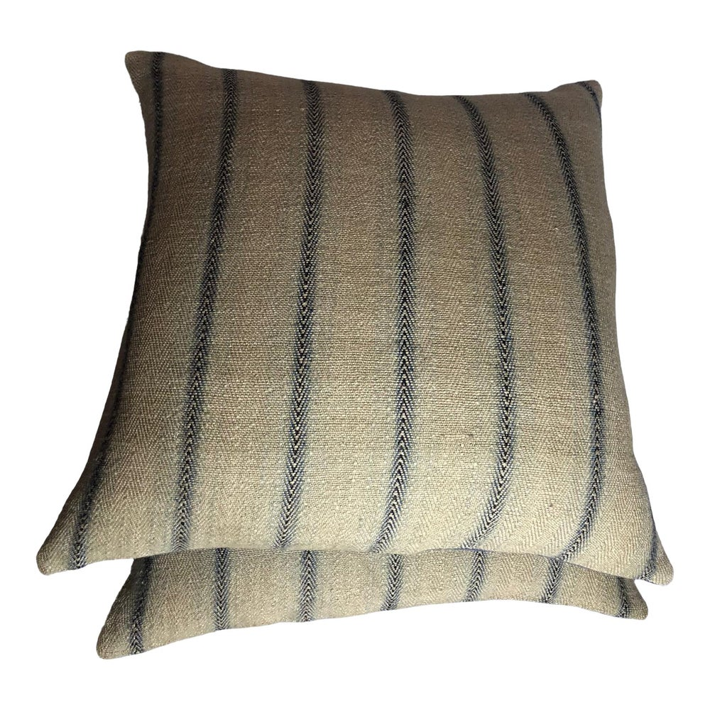 Ralph Lauren Designer Woven Flax, Linen and Jute Fabric Pillows