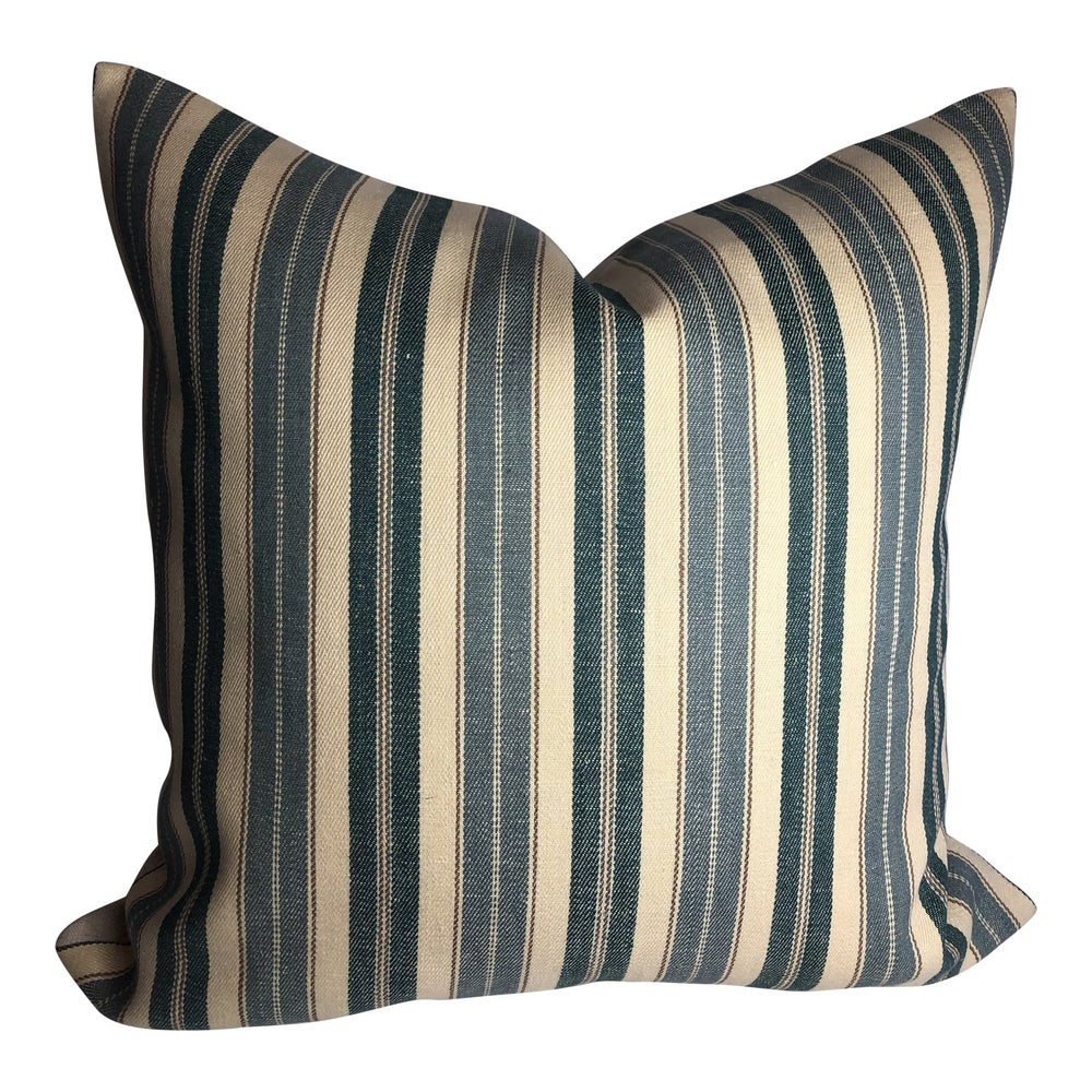 Ralph Lauren Designer French Country Ticking Stripe Linen Pillow