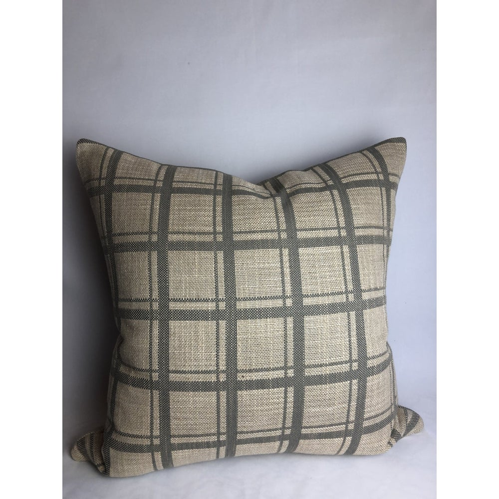 Donghia Modern Designer Plaid Fabric Pillow