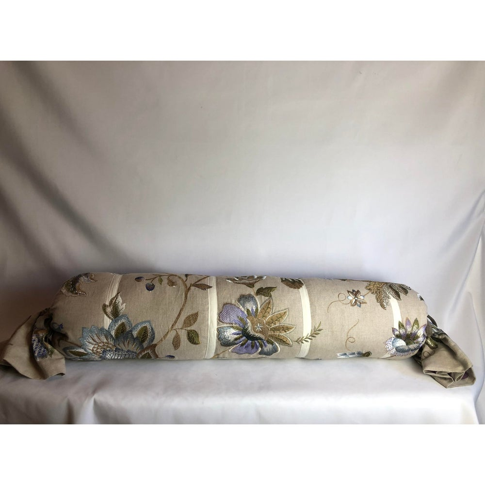 Cowtant and Tout Designer Linen and Embroidered Bolster Pillow