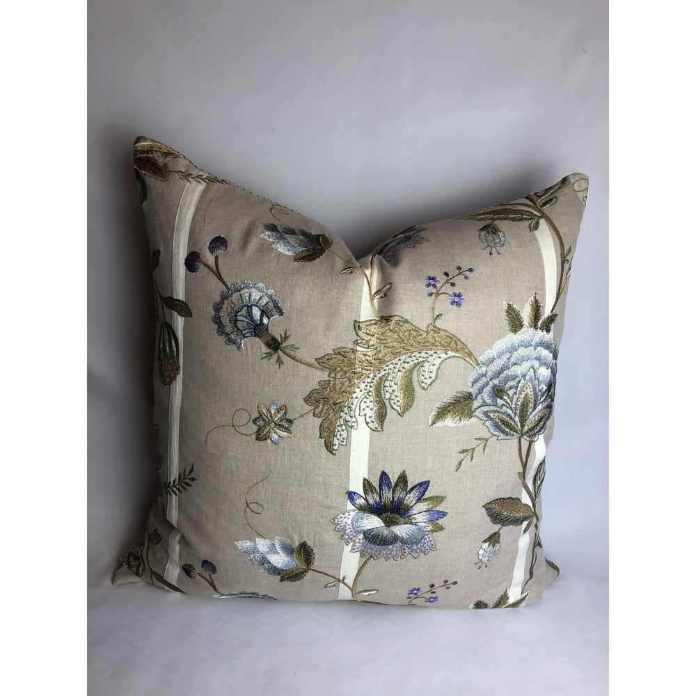 Cowtan and Tout Designer Linen and Embroidered Pillow