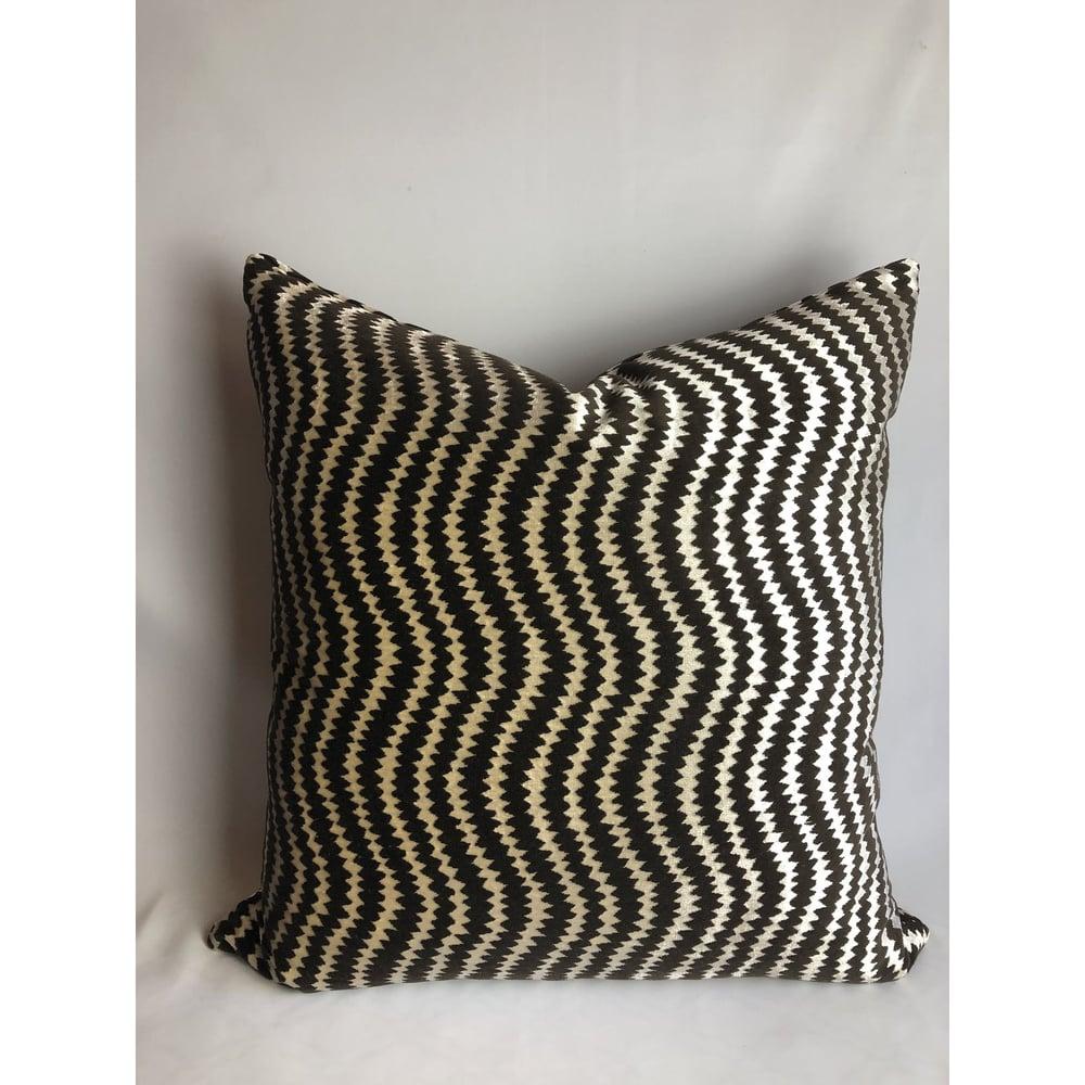 Roma Contemporary Zig Zag Designer Fabric Pillow Cover
