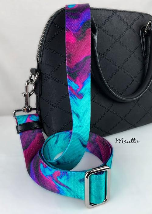 """Image of Turquoise Purple Swirl Strap - 1.5"""" Wide Nylon - Adjustable Length - Dog Leash Style #19 Hooks"""