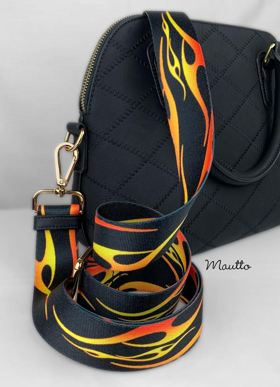 "Image of Hot Rod Flames Strap for Bags - 1.5"" Wide Nylon - Adjustable Length - Tear Drop Shape #14 Hooks"