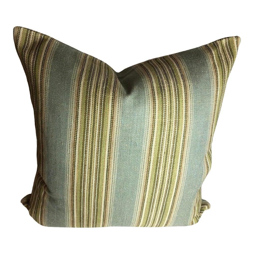 Ralph Lauren Stripe in Green Blue Stripe Designer Pillow