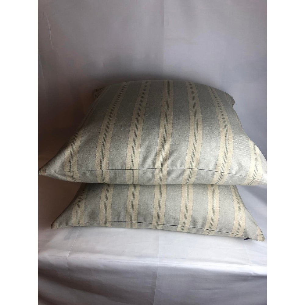Cowtan and Tout Stripe Wool Designer Pillow With 90/10 Down Insert