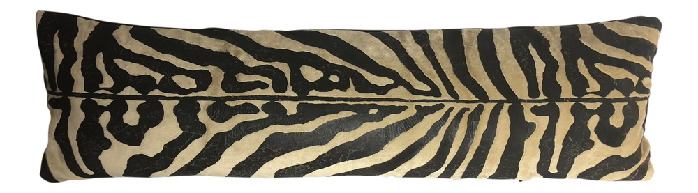 Distressed Rich Mohair in Faux Zebra and Holly Hunt Designer Pillow with Insert