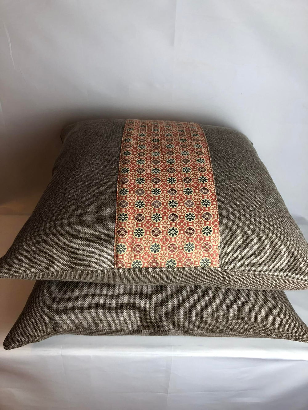 Holly Hunt Heavy Linen Large Stripe Designer Pillow With 90/10 Down Insert