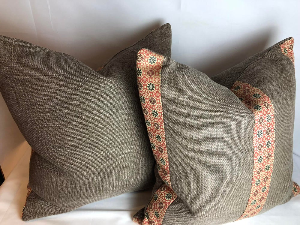 Holly Hunt Heavy Linen Small Stripe Designer Pillow With 90/10 Down Insert
