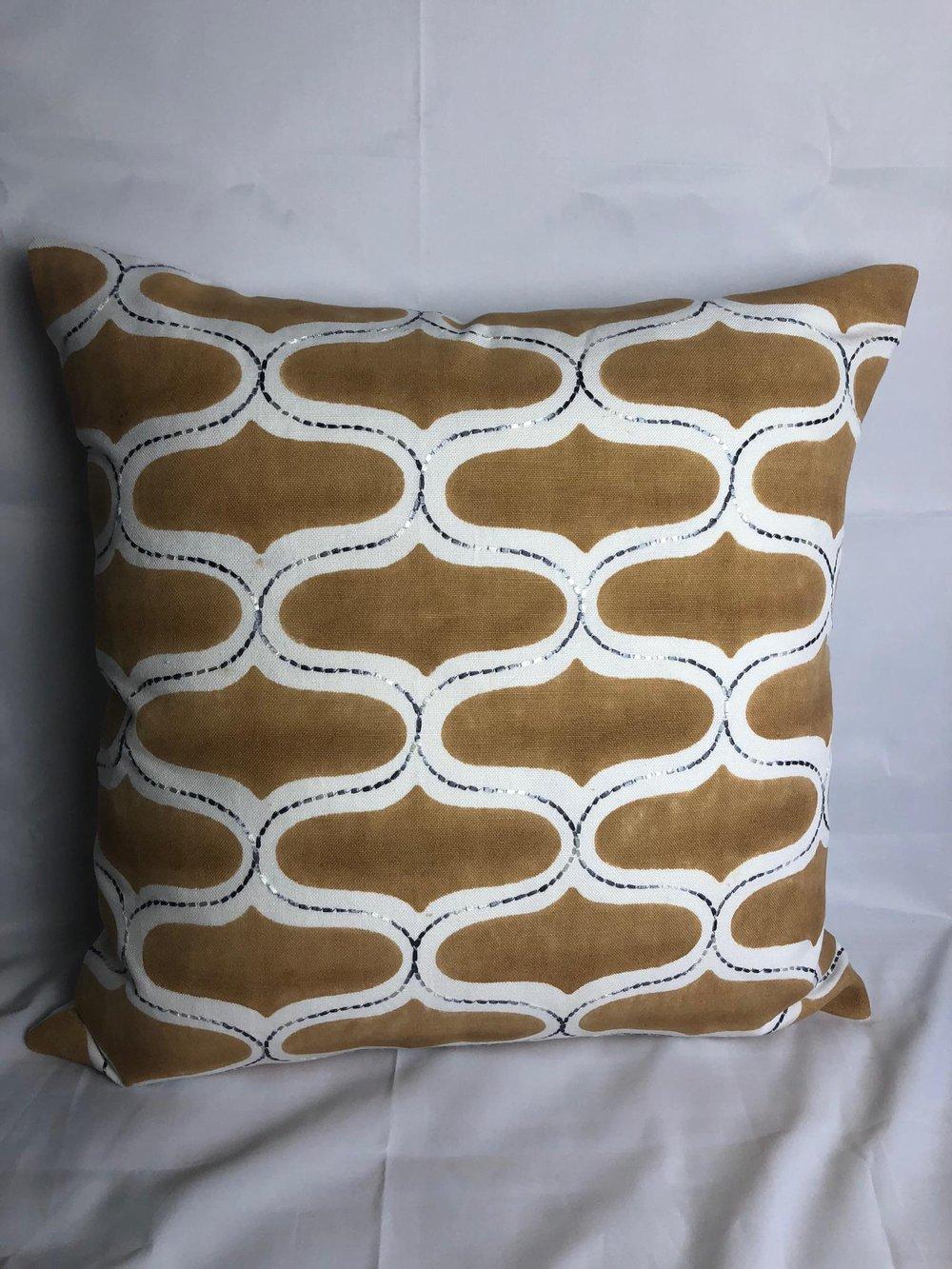 Seemakrish Hand Block Printed Designer Pillow With 90/10 Down Insert