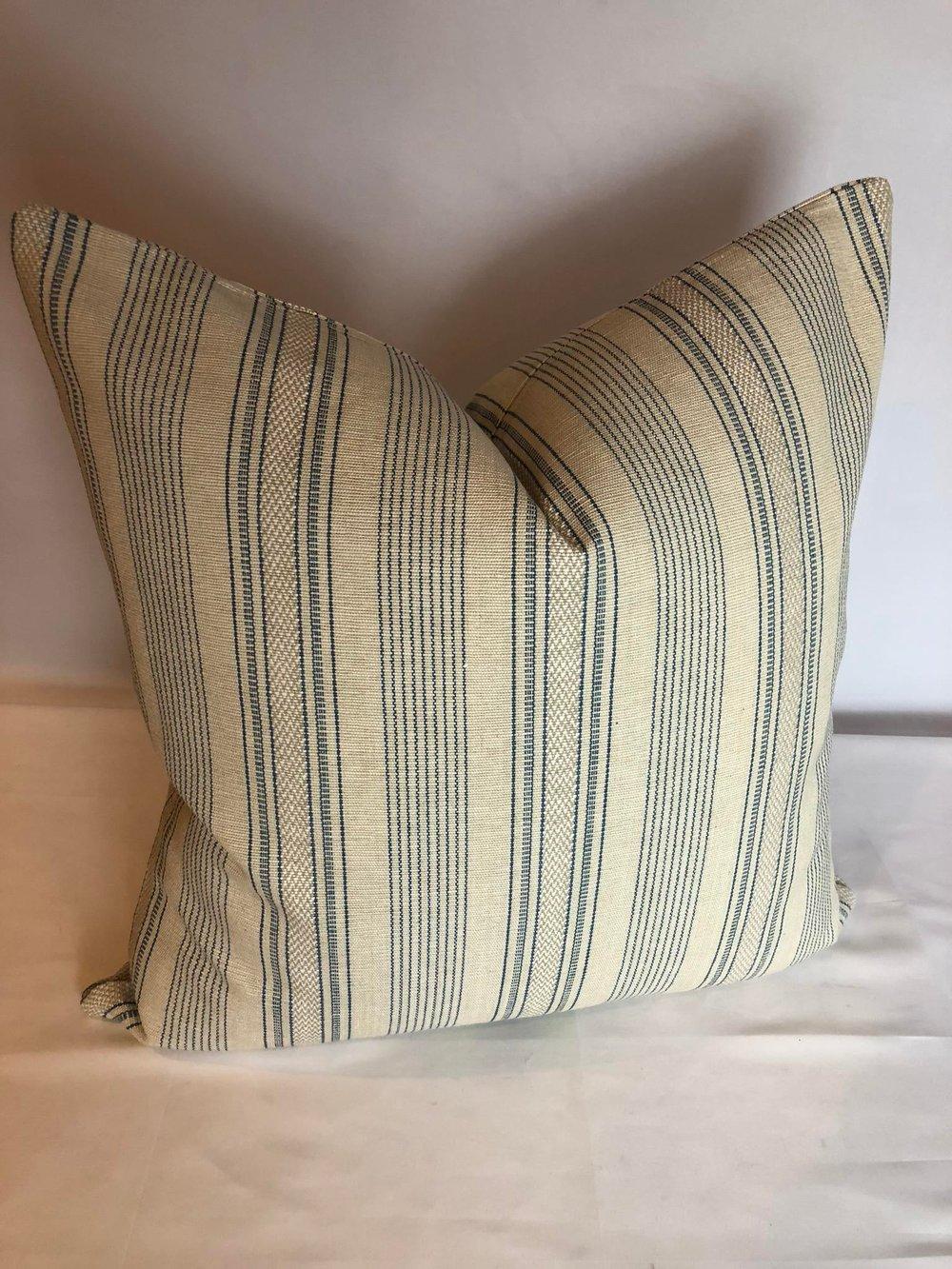 Cowtan & Tout Woven Transitional Stripe Designer Pillow With 90/10 Down Insert