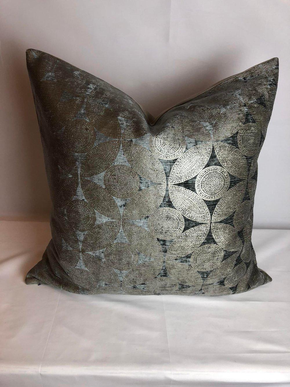 Contemporary Velvet Interlocking Circle Pattern Designer Pillow and 90/10 Down Insert