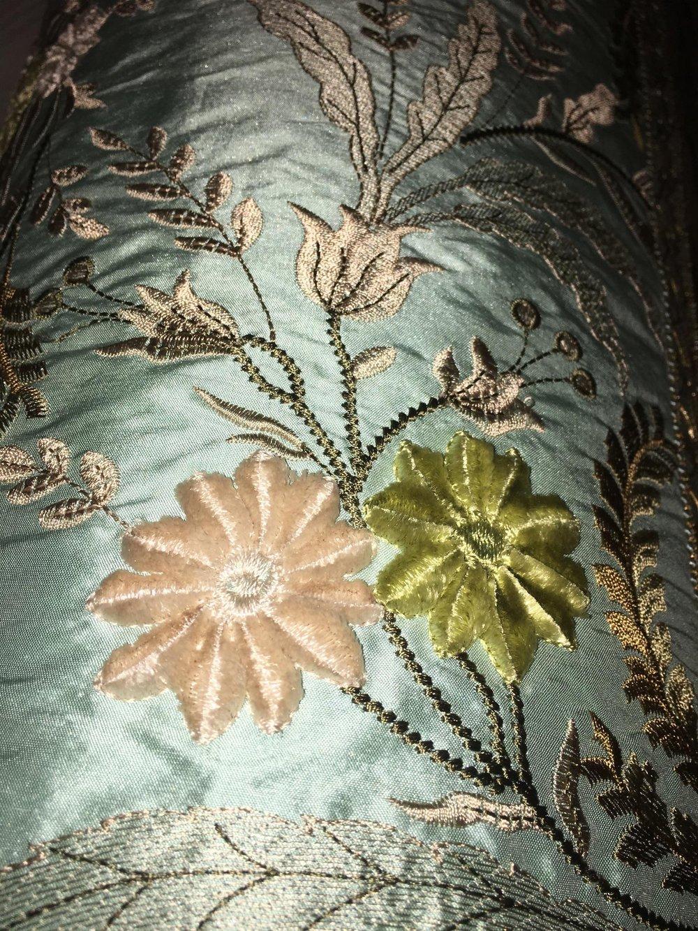French Vervain Bolster Designer Pillow With 90/10 Down Insert