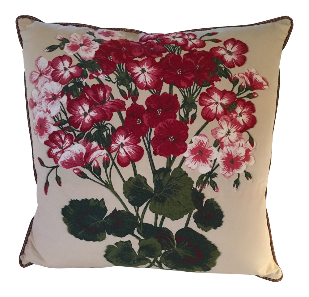 """""""Geranium"""" Embroidered Woven Designer Pillow With 90/10 Down Insert"""
