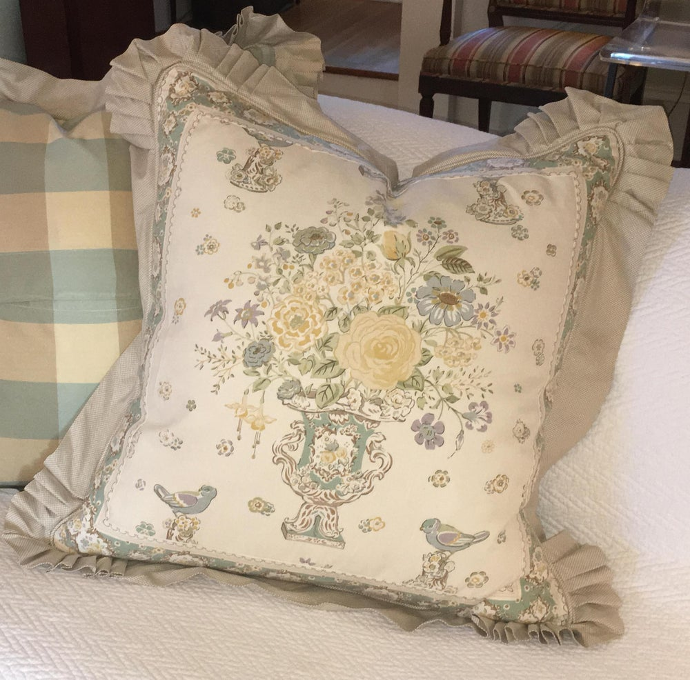 G P & J Baker Traditional Ruffle Floral Print Designer Pillow With 90/10 Down Insert
