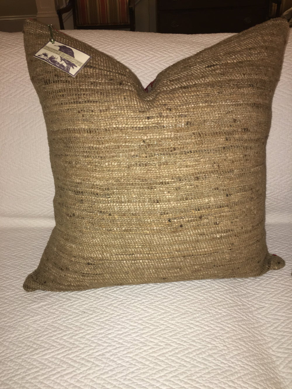 Designers Guild Linen Damask Designer Pillow With 90/10 Down Insert