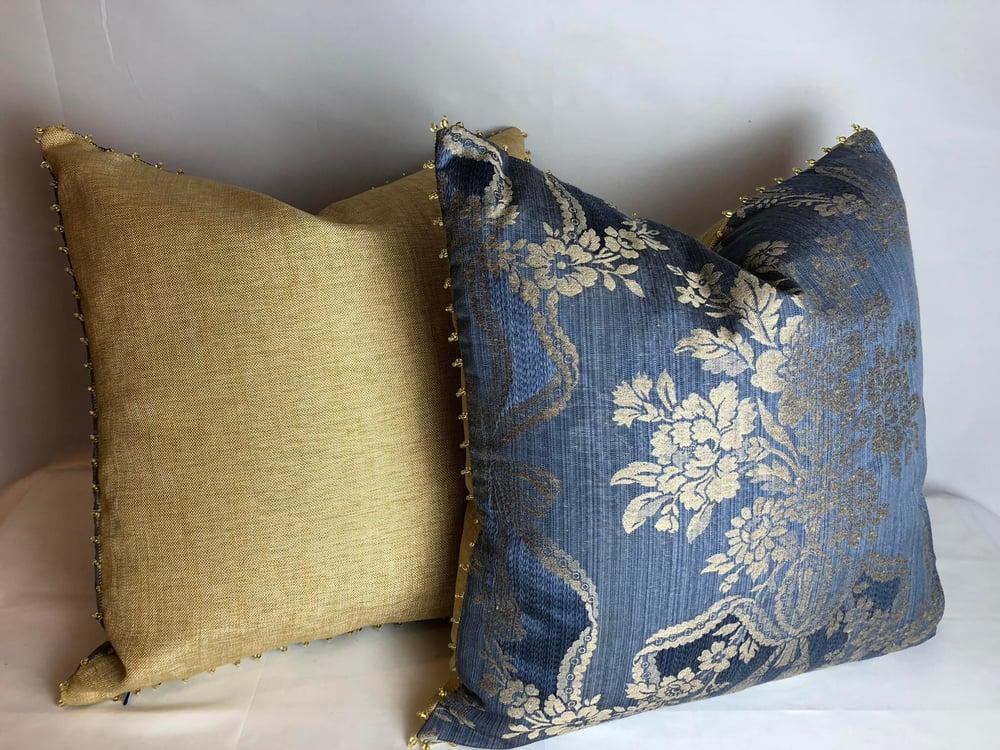 Scalamandre Rose Silk Damask Designer Pillow With 90/10 Down Insert