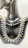 "Original ""AB Diamond Shape Glass Crystal Necklace Set"""