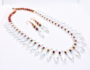 """Original """"AB Diamond Shape Glass Crystal Necklace Set"""" Enter DISCOUNT CODE: STONES29 at check out!"""