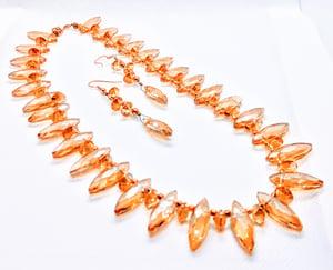 "Original ""AB Amber Diamond Shape Glass Crystal Necklace Set""Enter DISCOUNT CODE: STONES29 at check"