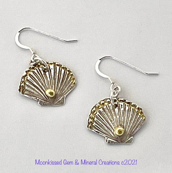 Image of Golden Shells Fine Silver and 22 Karat Gold Earrings
