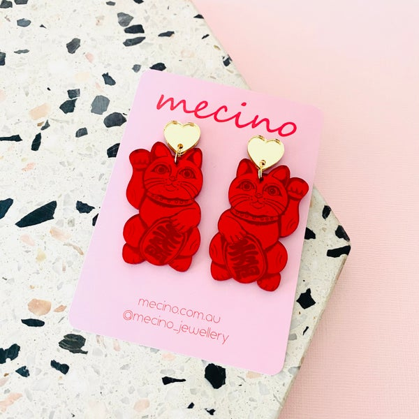 Image of Lucky Cats - Mirrored Red