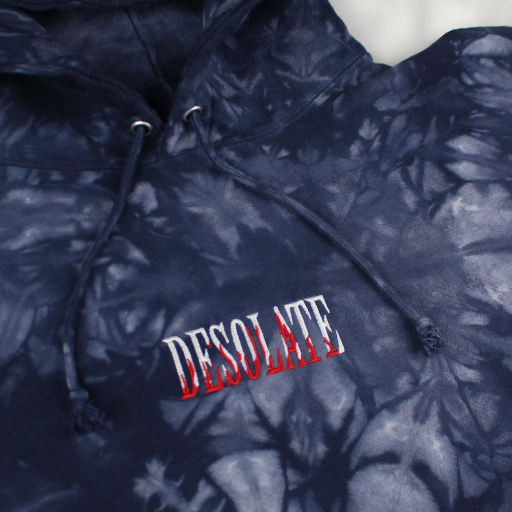 Dyed Embroidered Flame Logo Hoodie (Navy Blue)