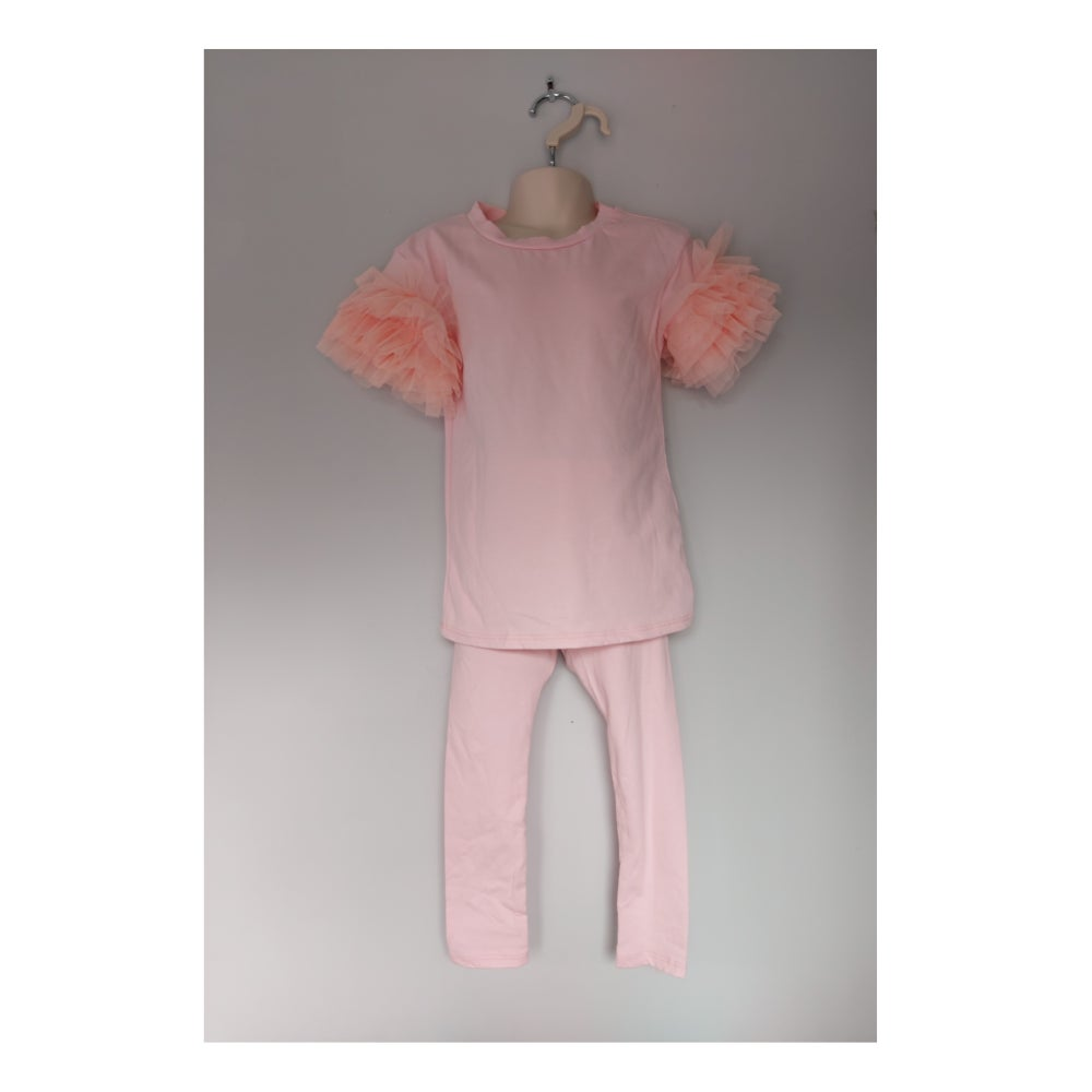 Image of Pink Tulle Sleeve Tracksuit