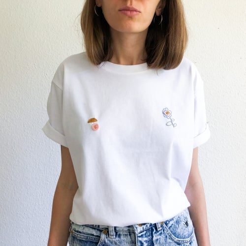 Image of Sunny nips t-shirt no.5 // hand embroidered organic cotton t-shirt, available in ALL sizes