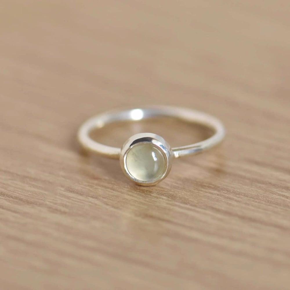 Image of Prehnite cabochon classic silver ring