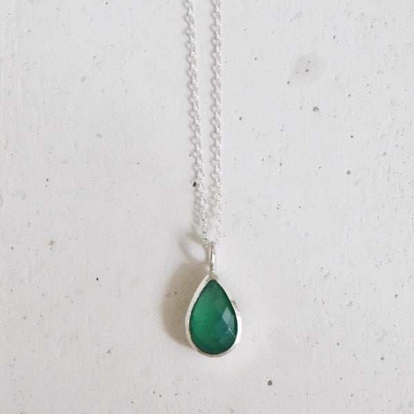 Image of Green Onyx pear shape mixed cut silver necklace