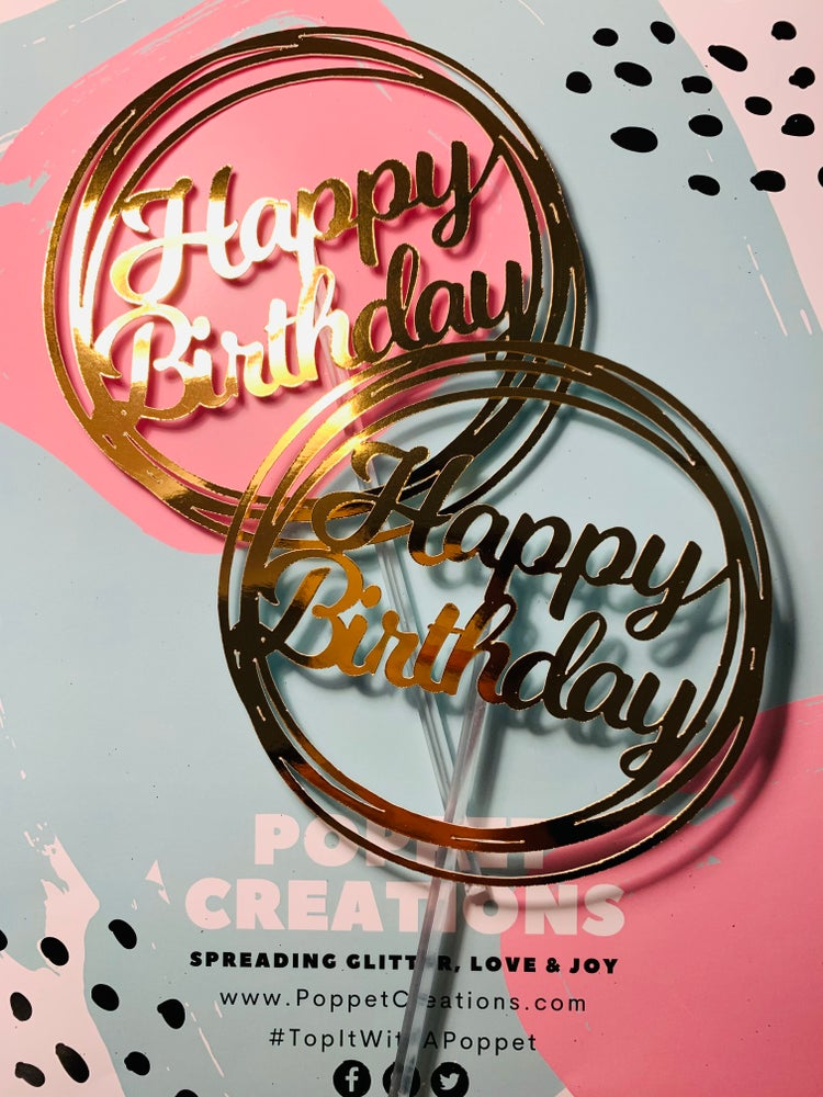 Image of Happy Birthday in circle