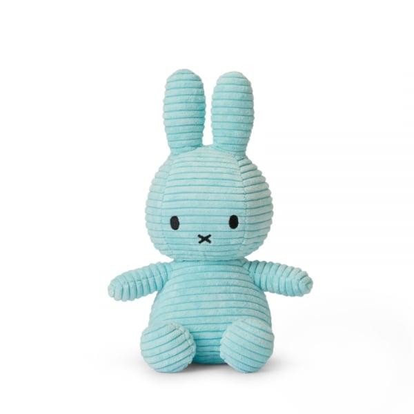 Image of Peluche Miffy Lapin velours cotelé bleu pastel 24 cm