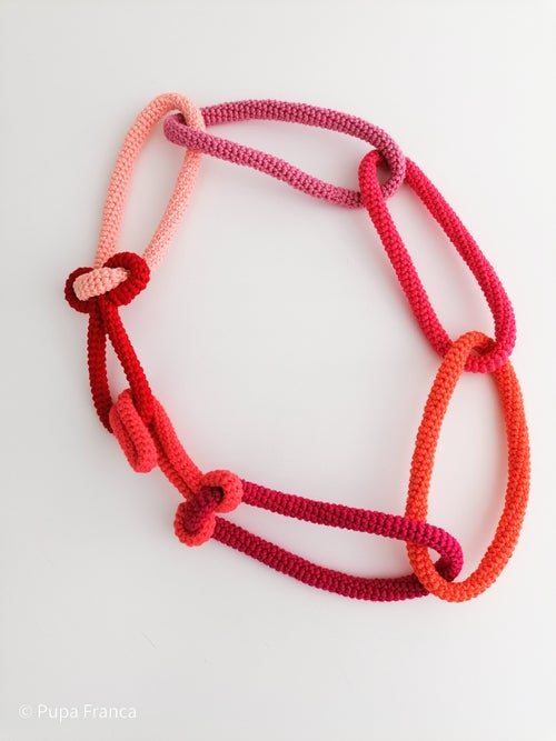 Image of Oversized Chain Necklace in Red, Pink, Orange Tones